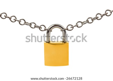 Lock and chain isolated on white background