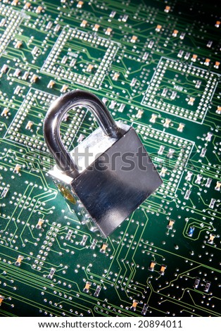 lock and circuit board, concept of on-line safety