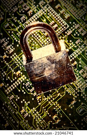 lock and circuit board, concept of online safety