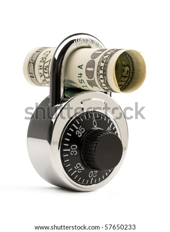 Lock and US dollar isolated on white background. Concept of money safety or investment.