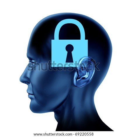 lock closed locked secrets mystery symbol Brain mind head idea intelligence isolated