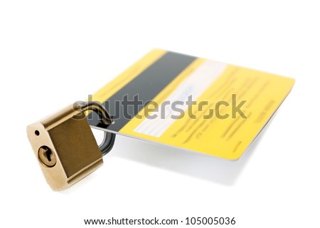 lock credit card isolated on white background