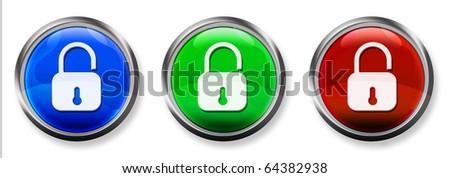 Lock 3-D RGB Buttons