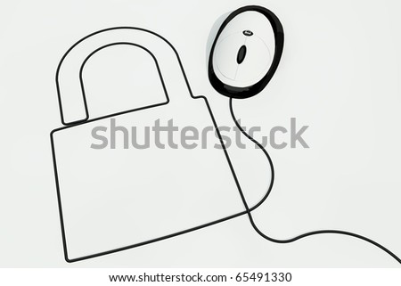 lock drawn with computermouse wire