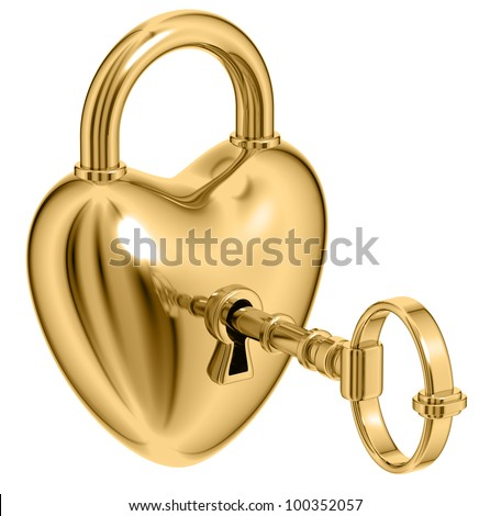 Lock formed as heart with a golden key in a keyhole isolated on white background, love unlock, 3d.