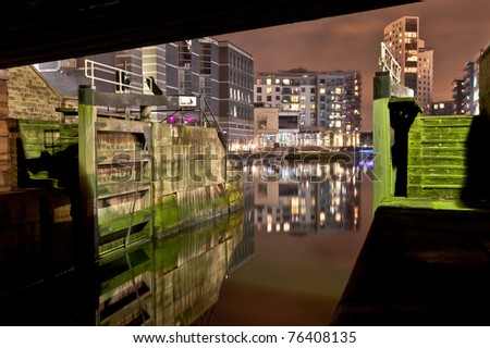 Lock gates to another world, ghostly reflections at Clarence Dock in Leeds