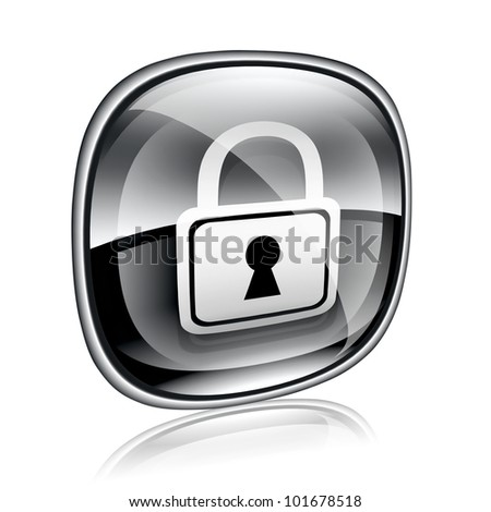 Lock icon black glass, isolated on white background. - stock photo