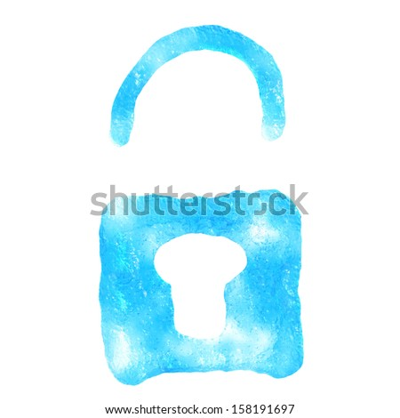 Lock icon ice, isolated on white background.