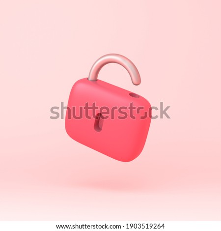 Lock icon simple 3d illustration on pastel abstract background. minimal concept. 3d rendering