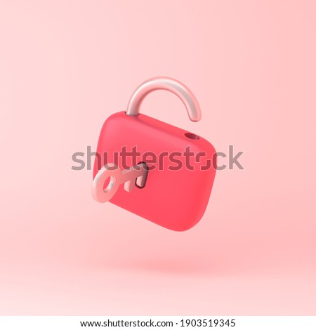 Lock icon with key simple 3d illustration on pastel abstract background. minimal concept. 3d rendering