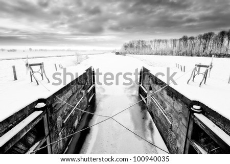 Lock in a cold white winter landscape