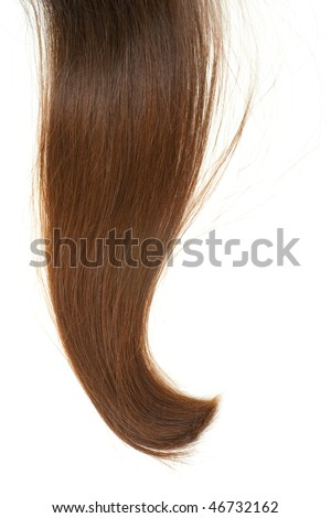Lock of silken brown hair isolated on white background