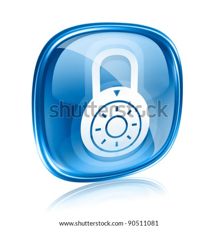 Lock off, icon blue glass, isolated on white background.