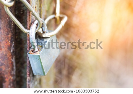 lock on a chain hangs on a gate