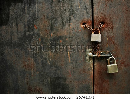 lock on rusty iron door