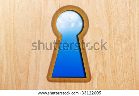 Lock on wooden texture with blue sky background
