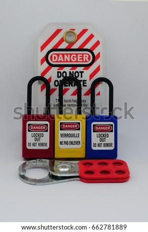 Lock out & Tag out,Lock out station , machine - specific lockout device and lockout point #662781889