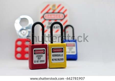 Lock out & Tag out,Lock out station , machine - specific lockout device and lockout point #662781907