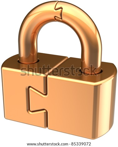Lock padlock closed guard. Security password hold golden icon concept. Puzzle link secret code encryption abstract. Detailed 3d render. Isolated on white background - stock photo