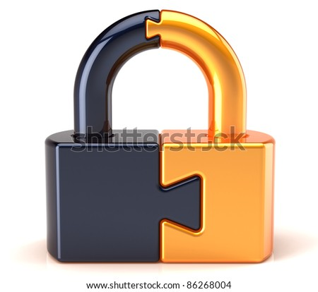 Lock padlock security data safeguard. Puzzle link closed secret code encryption colored golden black. Access system password icon concept. Detailed 3d render. Isolated on white background