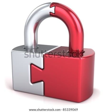Lock padlock security safeguard. Closed puzzle link secret code encryption abstract. Strong password hold icon concept. Detailed 3d render. Isolated on white background