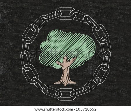 lock, protect tree with in chains written on blackboard background, high resolution