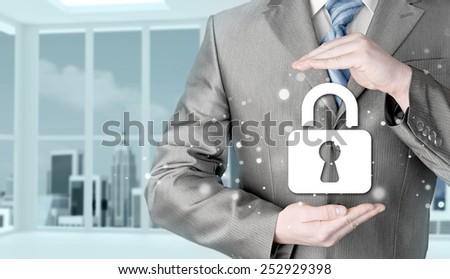 lock security businessman protect concept #252929398
