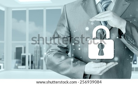 lock security businessman protect concept #256939084