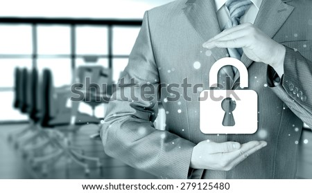 lock security businessman protect concept #279125480