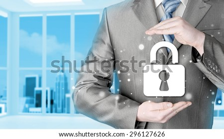 lock security businessman protect concept #296127626