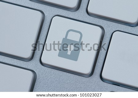 Lock symbol at the computer key