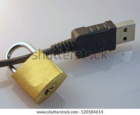 lock the data block to a usb plug of a computer