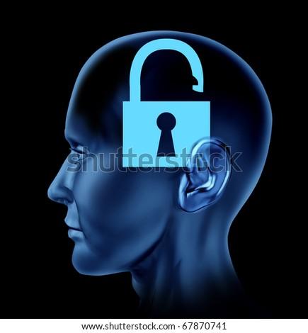 lock un-locked open secrets symbol Brain mind head idea intelligence