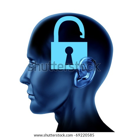 lock un-locked open secrets symbol Brain mind head idea intelligence isolated