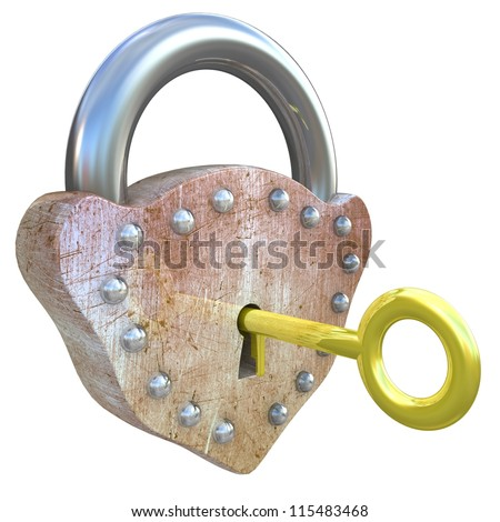 Lock with gold key - stock photo