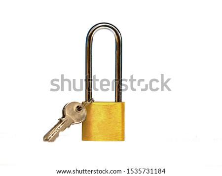 Lock with key isolated on white background isolated on white  #1535731184