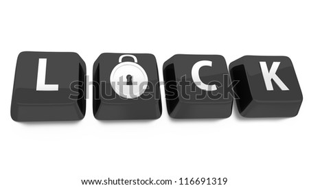 LOCK written in white on black computer keys with a lock icon. 3d illustration. Isolated background.