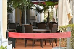 Lockdown in Corona crisis - Closed gastronomy in Steyr, Austria, Europe