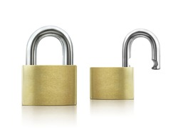 Locked and unlocked Padlock on white background