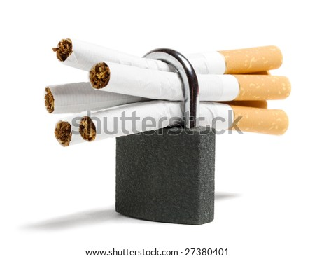 locked cigarettes isolated on white