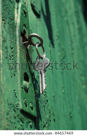 Locked door with key in lock in a retro style