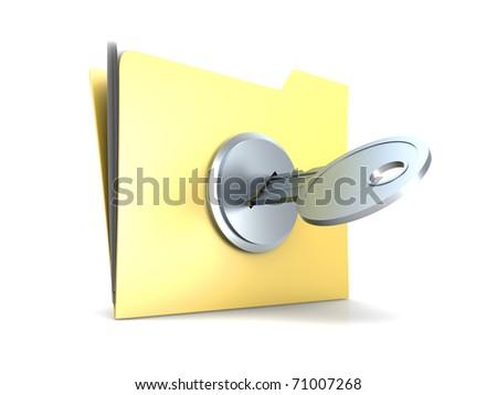 Locked Folder. 3D rendered Illustration. Isolated on white.