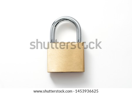 Locked Golden Padlock on the white background.