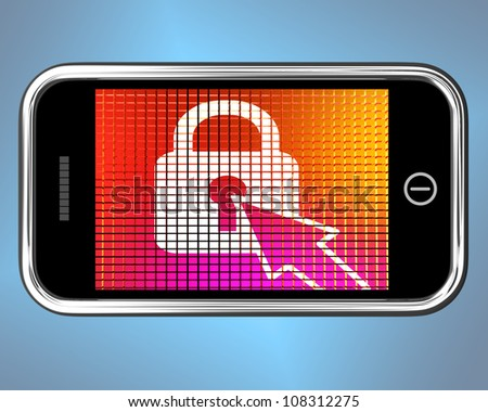 Locked Padlock Mobile Screen Showing Access Protected