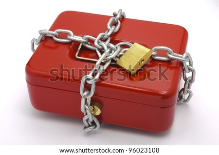 locked red cash box