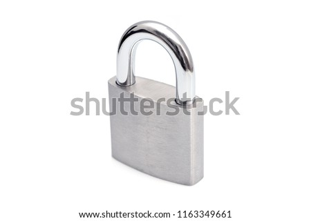 Locked Silver Padlock on a white background.