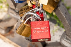 Locked together forever, Valentine Day, Ponte Milvio, Rome Italy