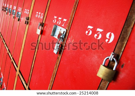 Locker room doors with locks