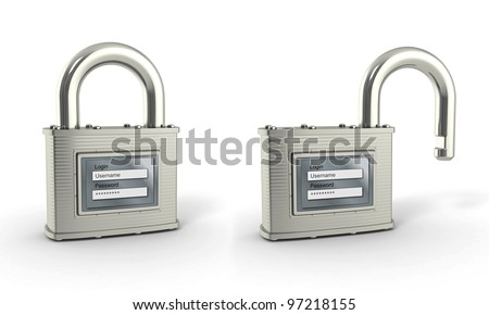 Locking and unlocking padlock with login and password. 3d