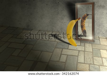 Locking into mirror and see an ugly version of self/Low self esteem Сток-фото ©